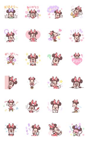 【LINE無料スタンプ速報:隠し】【8月先行】ミニーマウス(パステル) スタンプ