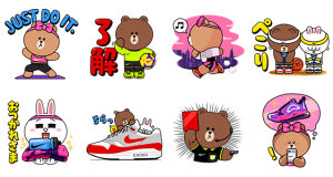 【LINE無料スタンプ速報:隠し】NIKE☆BROWN&FRIENDS スタンプ(2019年05月20日まで)