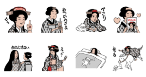 【LINE無料スタンプ速報:隠し】ヴォーグと山田全自動の浮世絵スタンプ(2019年07月15日まで)