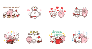 【LINE無料スタンプ速報】動く!ピスケ&うさぎxホンディー スタンプ(2019年11月18日まで)