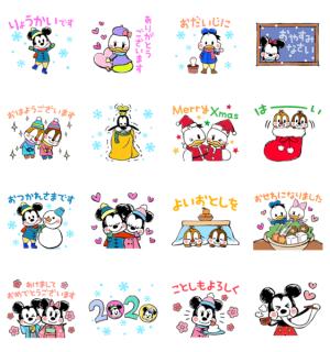 【LINE無料スタンプ速報:隠し】ミッキー&フレンズ(らくがきウィンター) スタンプ
