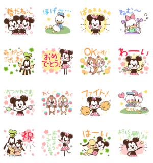 【LINE無料スタンプ速報:隠し】ミッキー&フレンズ(らくがきスプリング) スタンプ(2020年12月27日まで)