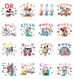 【LINE無料スタンプ速報:隠し】ミッキー&フレンズ(レトロポップ) スタンプ(2020年12月27日まで)