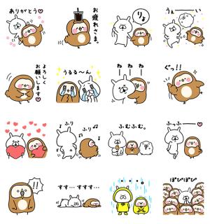 【無料スタンプ速報】フク子さん×ゆるうさぎコラボスタンプ(2016年07月04日まで)