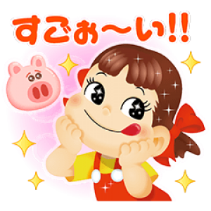 【無料スタンプ速報】LINE バブル2 x ペコちゃんコラボ スタンプ(2016年07月27日まで)