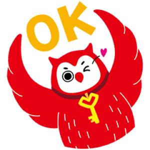 【無料スタンプ速報:隠し無料スタンプ】フクロウのヨヨキー by代ゼミ スタンプ(2017年06月12日まで)